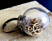 Steampunk glass ring, time capsule ring, vintage watch part ring, adjustable ring