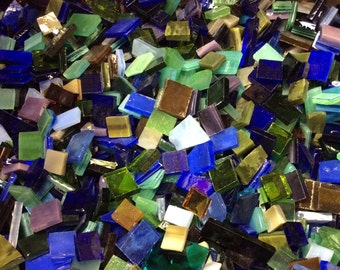 100 MOSAIC #4 GRAB BAG Dark Colors Stained Glass Mosaic Tiles Mix Size