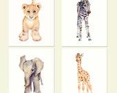Safari nursery decor, nursery wall art, elephant decor, baby animal prints, fine art prints, kids wall decor, animal watercolor prints