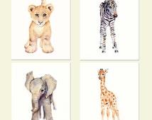 Safari Nursery Print Set- Four prints- Watercolor Nursery prints, Lion, zebra, elephant and giraffe prints