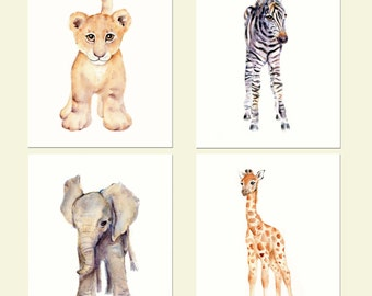 Safari Nursery Print Set- Four prints- Watercolor Nursery prints, Lion, zebra, elephant and giraffe prints