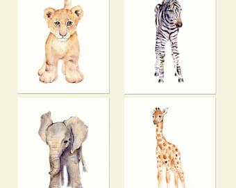 Safari nursery decor, nursery wall art, jungle animals watercolor, baby animal prints, fine art prints, kids wall decor, set of four