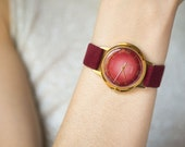 Ruby shade women's watch, gold plated Dawn, very good condition minimalist watch her, party watch for lady, ruby strap vintage