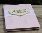 Advice For The Bride Book Large Wedding Guest Book Bridal Shower Guest Book, Lace, Personalized Heart Shabby Chic Rustic Weddings 5 3/4 X 8