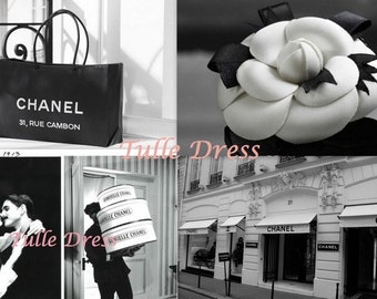Paris Chanel Address with famous Images in Black and White Custom Stationary Greeting Cards (Blank, Monogrammed, Party Invitations or Quotes