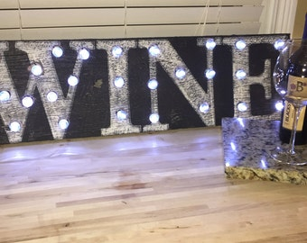 Marquee WINE Barnwood Sign