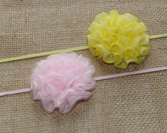 2 Snowball Flower Headbands - Baby Headbands - Baby Girl Headbands - Baby Hair Accessories