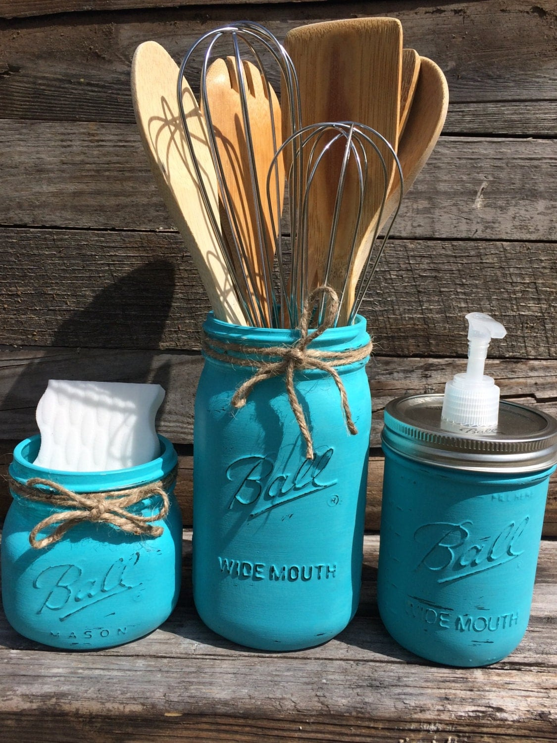 Mason jar kitchen set 3 painted mason jars turquoise mason for Mason jar kitchen ideas