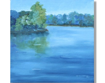 Sale: On the Pond. Original Hand Painted Oil Painting. Size 6 x 6 canvas