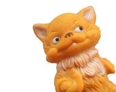 Cute  vintage rubber toy cat , his name is Alexandr . Use him for assemblage, mixed media or to keep company.