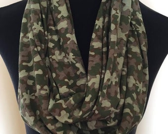 New Camoflage Army Brown, Green, and Tan Stretch Knit Long Infinity Scarf