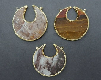 Round Jasper Double Bail Pendant With 24k Gold Electroplated Edge and Bail (S4B7-05) Made in the USA