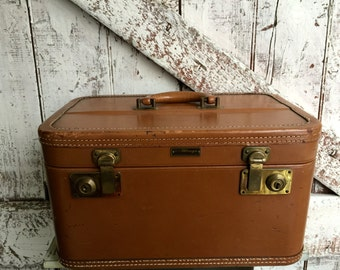 Leather Train case tan brown vintage leather hard shell case by Wings United Luggage NY Cosmetic Case Toiletries