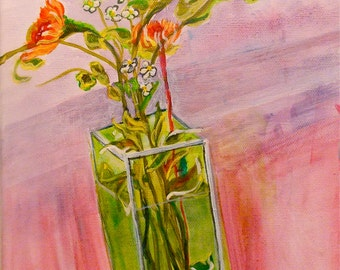 Flower Vase Still Life Original acrylic Painting
