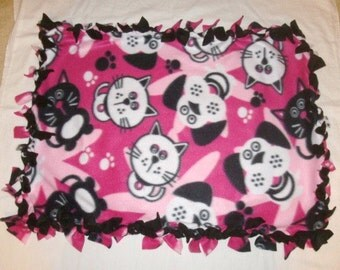 Fleece Tie Pet Blanket for Cats or Small Dogs - Pink Cats and Dogs