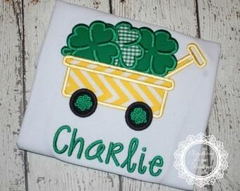 St. Patrick's Day Shamrock Wagon Applique Shirt - Boy's St. Patrick's Day Shirt
