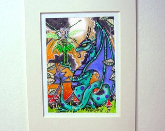 Dragon and Fairy art print watercolor painting matted for 5 x 7 frame fantasy art