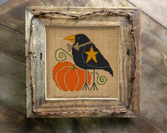 Primitive Crow Cross Stitch Pattern Halloween Needlepoint Digital Download or Paper Embroidery Chart