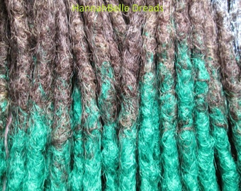 CUSTOM transitional ombre crochet synthetic dreadlock extensions - natural look, double ended, long, 20 pieces.