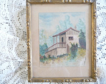 Antique French Landscape Painting Framed Glassed House Provencal French Country Decor