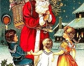 Spectacular Sale Santa with Basket of Toys Surrounded by Dancing Kids Antique Postcard Digital Image Download No. 1846