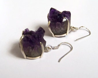 Natural Amethyst drusy sterling silver earrinds. February birth stone. Mother's day gift.