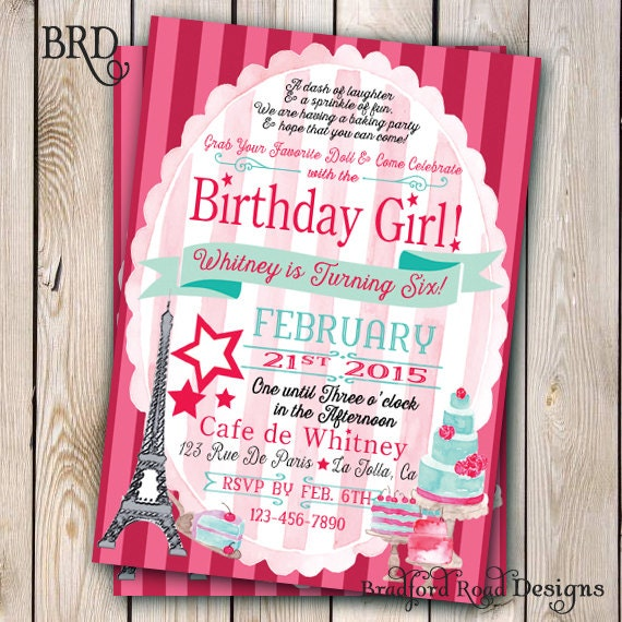 doll baking birthday invitation paris baking party x, Birthday invitations