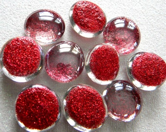 10 Glass GLITTER Gems - RED Color - Medium Size - Hand Painted - Half Marbles/Cabochons