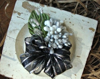 LAST ONE - Black and Silver Millinery Stamen Boutonnière Corsage Bouquet