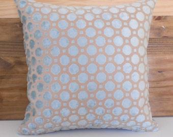 Mineral blue geometric cut velvet decorative pillow cover