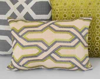 Double sided, Green and gray embroidered geometric trellis decorative pillow cover