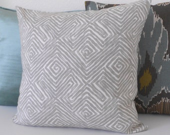 Gray geometric key pattern decorative pillow cover, Patras moonstone pillow