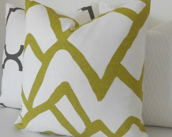Modern abstract decorative pillow cover,  chartreuse green schumacher zimba