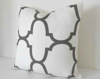 Brown quatrefoil designer pillow cover, Windsor Smith for Kravet,  Clove brown riad pillow