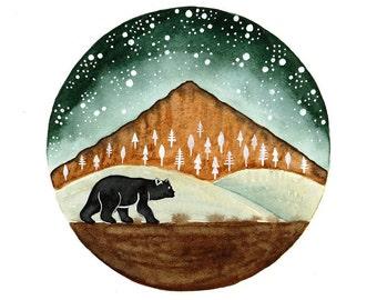 Black bear Original Watercolor painting forest woodland wildlife nature art