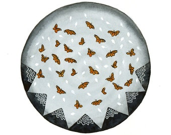 Original Watercolor painting Monarch butterfly migration