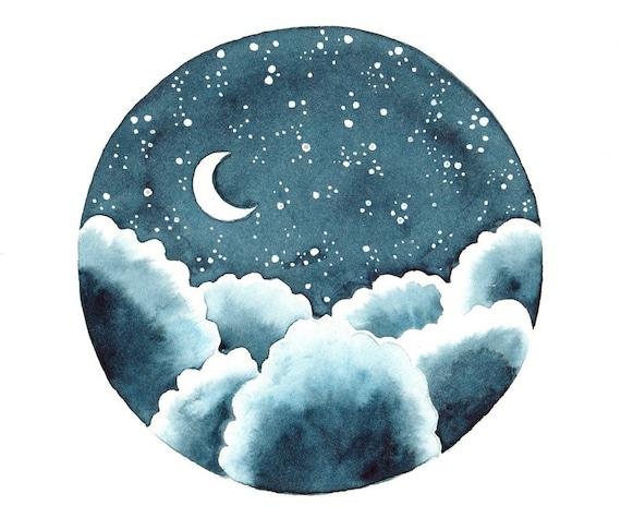 indigo night original watercolor painting clouds stars and