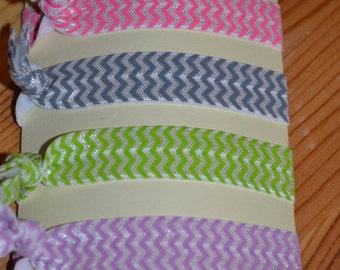 Set of 4 Fold Over Chevron Elastic Hair Ties
