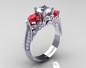 Classic 10K White Gold Three Stone White Sapphire Ruby Solitaire Ring R200-10KWGRWS