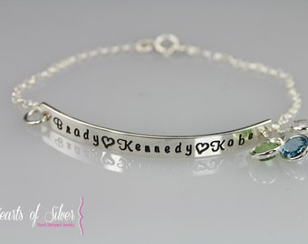 Sterling Silver Hand Stamped Bracelet- Mommy Jewelry- Mothers Jewelry- Personalized Bracelet- Birthstone Jewelry