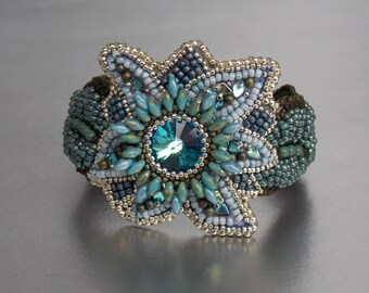 Free Shipping, Bead Embroidery, Bracelet, Statement cuff, Seed bead bracelet, Blue, Green, Swarovski