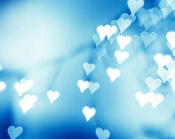 hearts photography bokeh abstract light photography 20x30 30x45 fine art photography valentines day bedroom decor aqua blue hearts sparkle