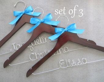 SET OF 3 Wedding Hangers, Bridal Hanger, Personalized Hangers, Bridal Party Gift, Bridesmaid Hangers, Bridesmaid Gift Idea, Custom Hangers