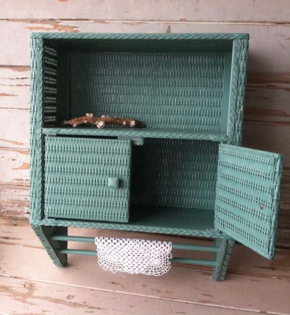 vintage aqua wicker bathroom cabinet retro beach cottage chic