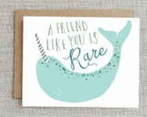 Friendship Card, Best Friend Card, Card For Friend, Narwhal Card, Thank You Card, BFF Card, Friends Card, Bestie Card, Friend Greeting Card
