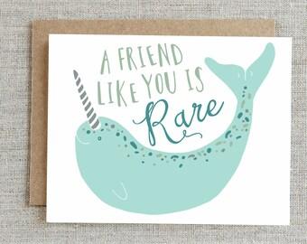 Friendship Card, Best Friend Card, Card For Friend, Narwhal Card, Thank You Card, BFF Card, Friends Card, Bestie Card, Friend Greeting Card