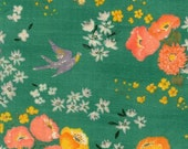 Nani Iro En Garden, Hee, green, yellow/orange flowers, double gauze fabric, by the yard