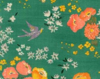 Nani Iro En Garden, Hee, green, yellow/orange flowers, double gauze fabric, by the yard