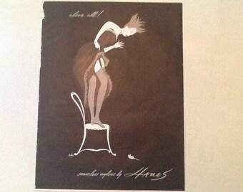1940's Black & White Hanes Hosiery Ad