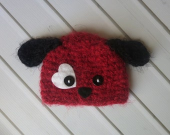 Newborn Crochet Fuzzy Valentine Puppy Puppy Dog Hat - Ready to Ship Valentine's Photography Prop, RTS